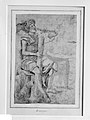 Seated Man Holding a Club or Other Implement (recto); Two Heads of Grotesque Men in Profile (verso) MET 879.jpg