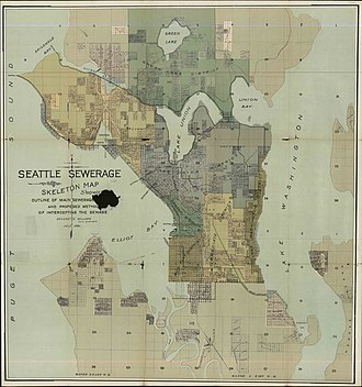 Sewerage - Map of Seattle sewer districts, 1894