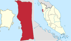Seberang Perai (red) in The State of Penang (left map), and Seberang Perai (red) in West Malaysia (right map)