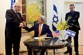 Secretary Kerry Talks With Israeli President Rivlin Before Signing the Guest Book (23193816961).jpg