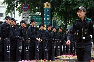 Riot shield - Police with riot shields in Seoul, South Korea.