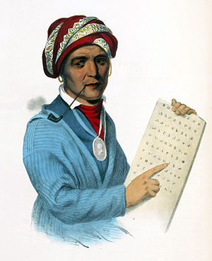 Sequoyah with a tablet depicting his writing s...