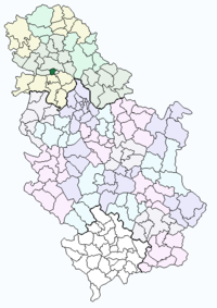 Location of Petrovaradin within Serbia