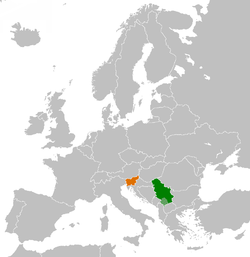 Map indicating locations of Serbia and Slovenia