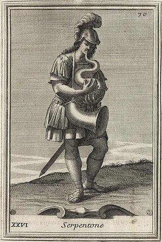 Filippo Bonanni - A man playing serpent: Engraving from Bonanni's Gabinetto Armonico
