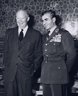 English: President Eisenhower and Mohammad Rez...