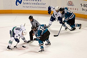 2007–08 San Jose Sharks season - Joe Thornton facing off in a game versus the Vancouver Canucks.