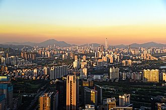 Shenzhen - Skyline of Shenzhen from the Nanshan District.