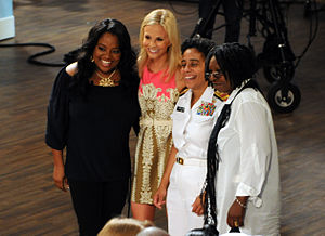 Elisabeth Hasselbeck - Elizabeth Hasselbeck (second from left), Sherri Shepherd and Whoopi Goldberg pose for a photograph with U.S. Navy Rear Admiral Michelle Howard during Fleet Week, New York 2010.