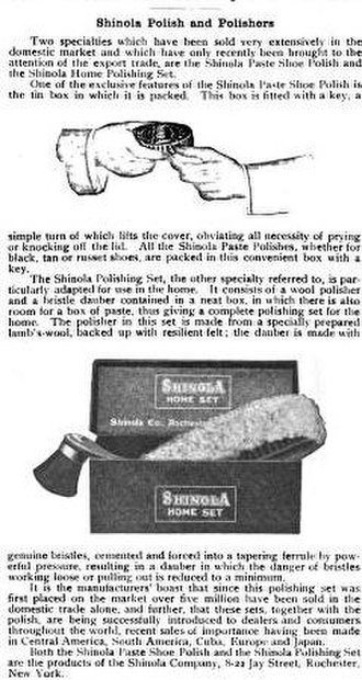Shinola - A July 1912 review of Shinola shoe polish from Commercial America, a trade magazine of the time.