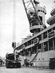 Ship propeller is loaded aboard USS Dixie (AD-14) in 1950.jpg