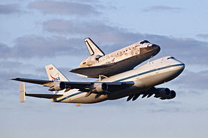 Shuttle Carrier Aircraft transporting Discovery departs Kennedy Space Center.jpg