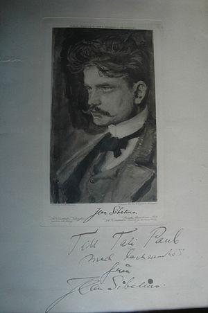 Adolf Paul - Axel Gallen-Kallela's Sibelius portrait with Sibelius' dedication to Natalie Paul (wife of Adolf Paul).