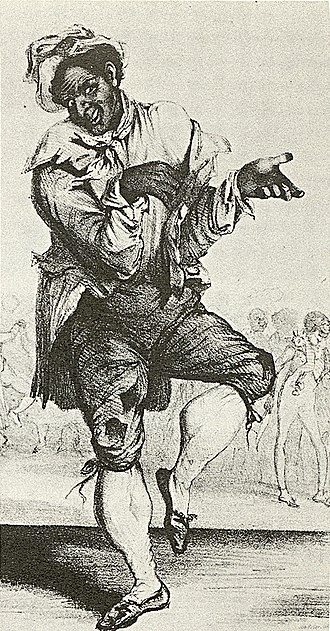 "Minstrel show - Thomas D. Rice from sheet music cover of ""Sich a Getting Up Stairs"", 1830s"