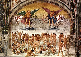 "1 Corinthians 15 - Resurrection of the Flesh (c. 1500) by Luca Signorelli – based on 1 Corinthians 15: 52: ""the trumpet shall sound, and the dead shall be raised incorruptible, and we shall be changed."" Chapel of San Brizio, Duomo, Orvieto"