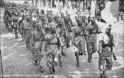 The 15th Sikh Regiment arrive in Marseille, France on their way to fight the Germans during the First World War. SikhsInFrancePostcard.jpg