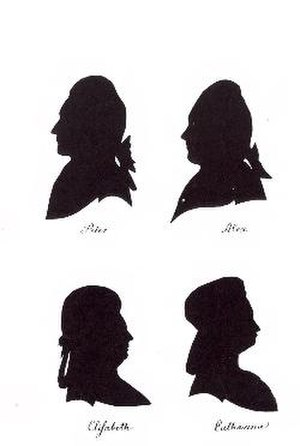 Anna Leopoldovna - Silhouettes of her four younger children in Horsens-Peter, Alexei, Elizabeth and Catherine