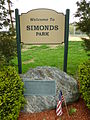 Simonds Park; Burlington, MA; south side sign and plaque.JPG