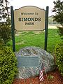 Simonds Park; Burlington, MA; south side sign and plaque.JPG