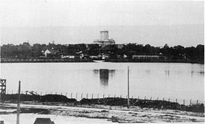 Battle of Singapore - View of the blown up causeway, with the gap visible in the middle, which delayed the Japanese conquest for over a week to 8 February