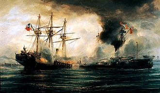 Combat - ''Naval combat of Iquique, 21 May 1879'' - oil on canvas painting by Thomas Somerscales, 19th century.