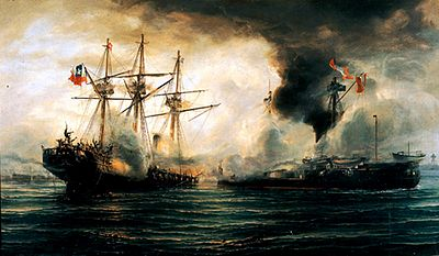 The Battle of Iquique, where Peruvian ironclad Huascar sunk the Chilean wooden corvette Esmeralda. Sinking of the Esmeralda during the battle of Iquique.jpg