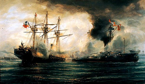 Naval combat of Iquique, 21 May 1879 - oil on canvas painting by Thomas Somerscales, 19th century. Sinking of the Esmeralda during the battle of Iquique.jpg