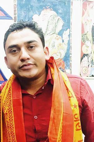 Sitaram Kattel - Sitaram Kattel wearing Ramnami shawl