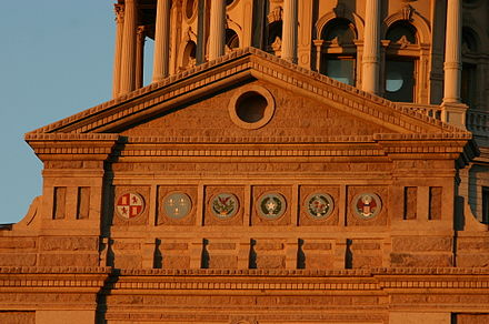 Six coats of arms displayed under the Texas State Capitol Dome Six Flags over Texas Emblems under State Capitol Dome.jpg