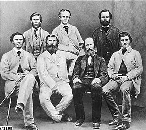 Adelaide Educational Institution - Members of John McDouall Stuart's 1861–1862 Expedition.  Back row: W. P. Auld, J. W. Billiatt and F. W. Thring  Front row: J. Frew, W. D. Kekwick, F. G. Waterhouse and S. King.  http://johnmcdouallstuart.org.au/companions