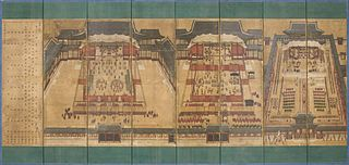 Screen of Banquets for Dowager Queen Sinjeong in Gyeongbokgung Palace Eight-panel Folding Screen
