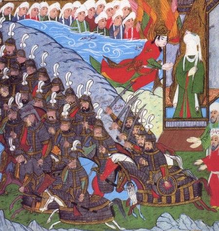 Siyer-i Nebi - Gabriel -dschabrail- und weitere Engel unterstützen die Muslime während der Schlacht von Badr (cropped).jpg