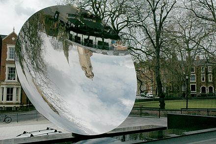 The Nottingham Playhouse and the Roman Catholic Cathedral reflected in Anish Kapoor's Sky Mirror Sky Mirror, Nottingham.jpg
