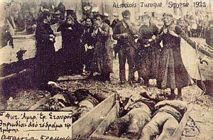 Greek genocide - Greek civilians mourn their dead relatives, Great Fire of Smyrna, 1922