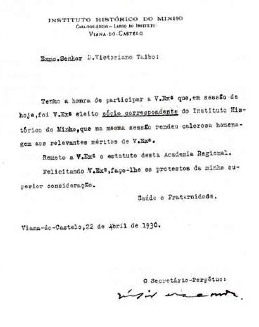 Instituto Histórico do Minho, 1930.