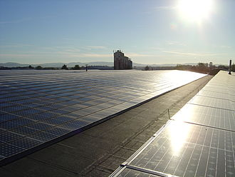 Bürstadt - View of the world's biggest rooftop photovoltaic system (5 MW) on the roof of TTS-Spedition