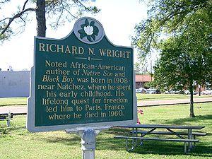 Roxie, Mississippi - Commemorative plaque honoring Richard Wright at Natchez