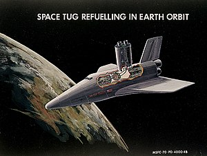 Space Shuttle - Early concept for a space shuttle refueling a space tug, 1970