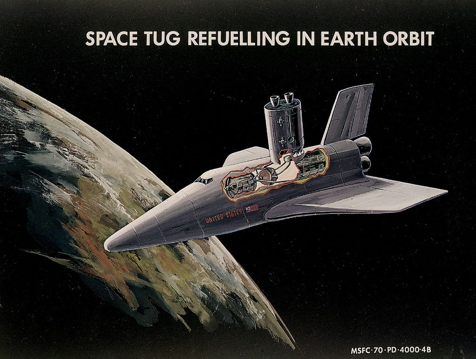 Space tug refuling by space shuttle