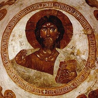 Theophanes the Greek - Image: Spas na Ilyine Christ Pantocrator 01