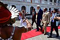 Sri Lankan Foreign Minister Samaraweera Escorts Secretary Kerry Through Cordon of Traditional Dancers Upon Arrival at Ministry of Foreign Affairs in Colombo (17151741860).jpg