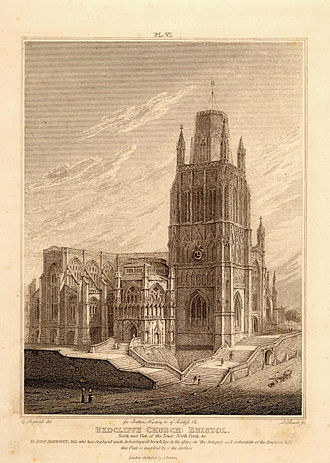 St Mary Redcliffe - An etching of St Mary Redcliffe from the North West c. 1850.