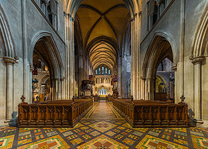 The nave of St Patrick's Cathedral in Dublin, Ireland, looking towards the choir.