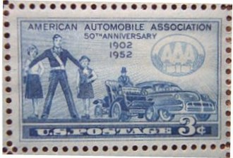 American Automobile Association - Image: Stamp US AAA 50th Anniversary 3 cent