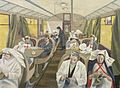 Standing-by on Train 21, One of the civilian evacuation trains ready to evacuate casualties at short notice. (Art.IWM ART LD 1858).jpg
