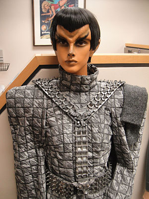 Romulan - A mannequin of a Romulan female wearing a 24th-century military uniform. Note the ridged forehead that in some series and films distinguishes Romulans from Vulcans.