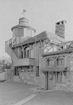 Starling W. Childs, residence in Norfolk, Connecticut. Sport house, lower north entrance and tower, Norfolk (Litchfield County, Connecticut).jpg