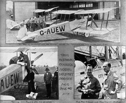 StateLibQld 2 68471 Collage of photographs marking the commencement of Brisbane Courier newpaper aerial delivery service, January 1927