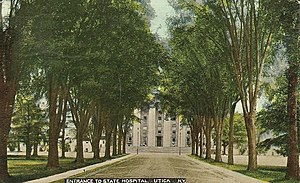 """Utica Psychiatric Center - Postcard dated 1912 of """"Entrance to State Hospital, Utica, NY"""""""
