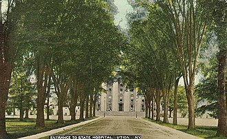 "Utica Psychiatric Center - Postcard dated 1912 of ""Entrance to State Hospital, Utica, NY"""
